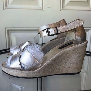 A.P.C. Metallic Gold Wedge Sandals EUC/sz 37